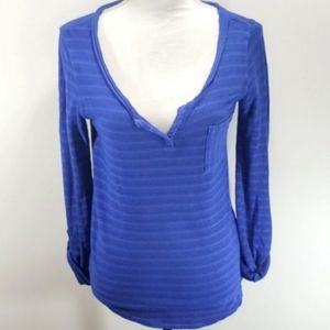 NEW Lucky Brand Top Royal Blue Sz Small Sheer Cute
